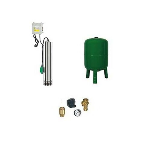 Surpresseur en Kit Pompe Immergée 750 W - 4 Turbines Réservoir vertical 100 L