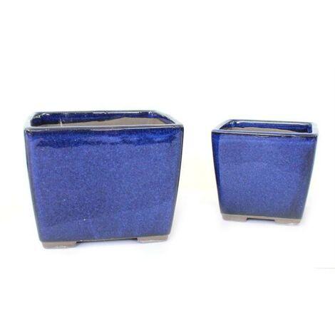 Surtido 2 tiestos cuadrados azul