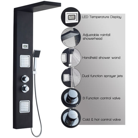 SUS304 Stainless Steel Thermostat Shower Panel LCD Shower Panel with Digital Water Temperature Display, Massage Nozzles with Rain Shower, Hand Shower for Bathroom