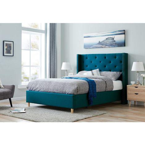SUSAN - Lit 160x200 cm en tissu capitonné bleu