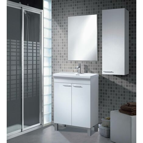 Suspended bathroom column with one door and one internal shelf, glossy white colour, 30 x 85 x 25 cm.