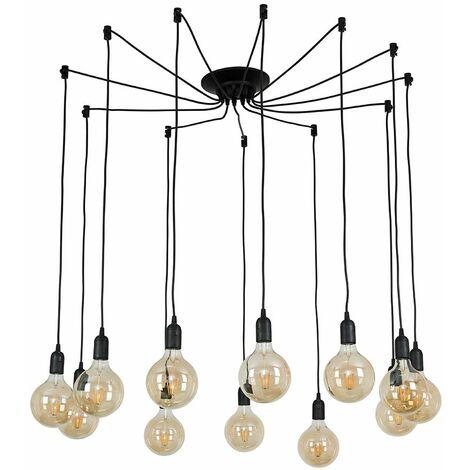 Suspended Ceiling Pendant Black 12 Way Light LED Light Bulb Lighting