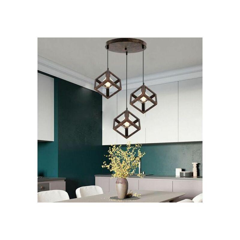 Suspension 3 Luminaire Design Cube Métal Industriel Lustre Intérieur Salle  à Manger E27 Rouille