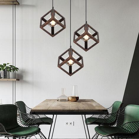 Suspension 3 Luminaire Design Cube Métal Industriel Lustre ...