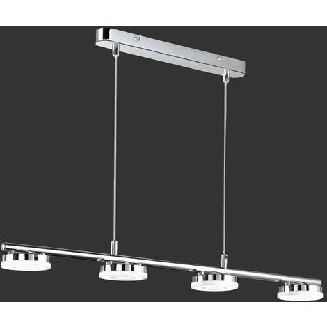 Suspension 4 lampes led Trio Rennes Chrome Métal R32414106