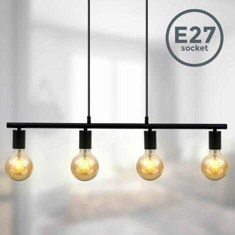 """main image of """"Suspension 4 spots design retro industriel vintage métal noir mat pour 4 ampoules E27"""""""