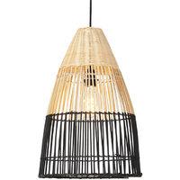 Suspension art déco en bambou et nuance noire - Bamboo Qazqa Art Deco Luminaire interieur Rond