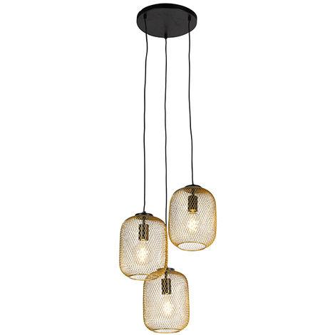 Suspension Art Déco or 45 cm 3 lumières - Bliss Mesh Qazqa Industriel / Vintage Cage Lampe Luminaire interieur Rond