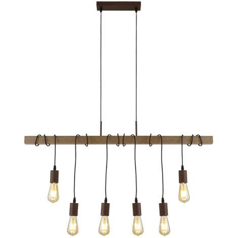 Suspension au plafond Poutre en bois DIMMABLE TÉLÉCOMMANDE Suspension dans le kit avec ampoule à LED RGB