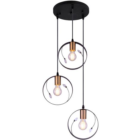 Suspension au plafond rétro avec anneau, lampe à suspension en cristal, ensemble noir, ampoules à LED incluses