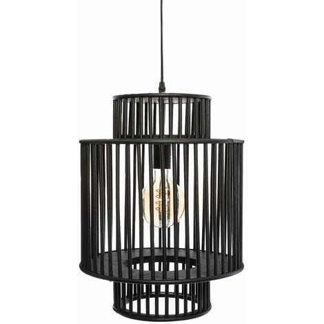 Suspension bambou Lixa noir D32 - Noir