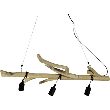Suspension bois métal 3 lampes - Bois clair