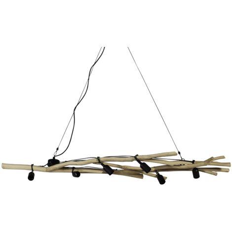 Suspension bois métal 6 lampes - Bois clair