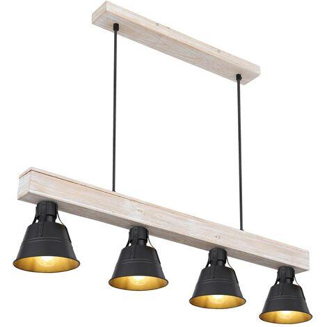 Suspension, bois, naturel, noir, L 85 cm, GÜNTHER - 15366S-4H