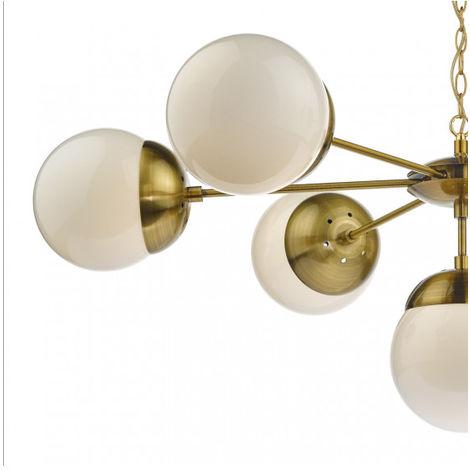 Suspension Bombazine laiton naturel et verre opale 7 ampoules -