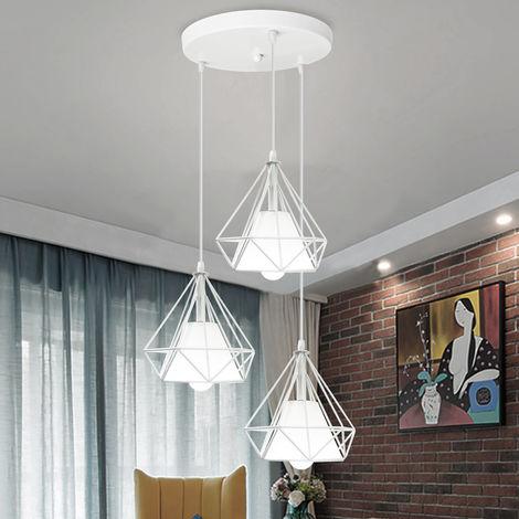 Suspension Cage Diamant E27 20cm Lustre de Fer Luminaire Industrielle Salle à Manger Chambre