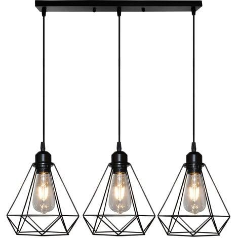 Suspension Cage Forme Diamant Contemporain Lampe Plafonnier Corde
