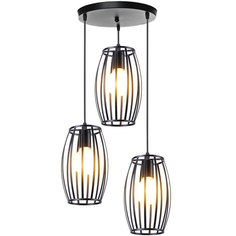 Suspension Cage Forme Tambour Contemporain Industriel Lampe