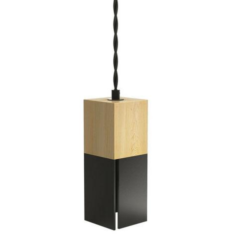 Suspension CARREBOIS, bois naturel & métal noir, culot E14 | Xanlite