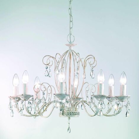 Suspension convertible into ceiling light painted in white and brushed gold Aria 8 Bulbs