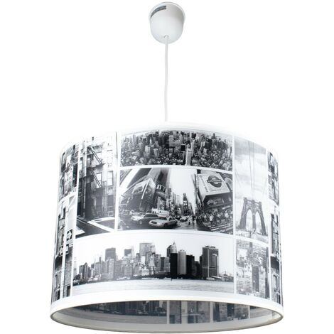 """main image of """"Suspension cylindrique abat jour serigraphie City New York LED"""""""