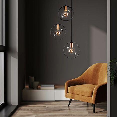 Suspension de plafond rétro anneau anneau design salon cristal pendentif lumière noir Globo 15346-3