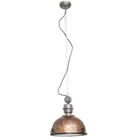Suspension de plafond vintage industrielle brun salon éclairage cuivre luminaire Steinhauer 7978B