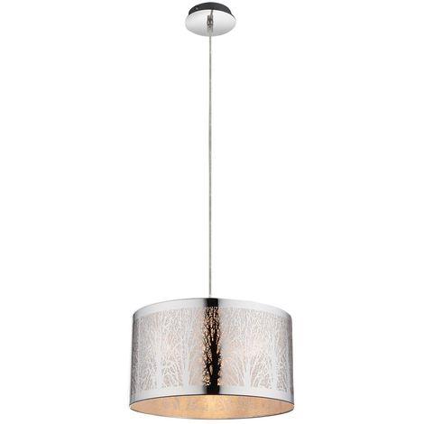 Suspension DEL lustre luminaire lampe plafonnier motif arbre chrome éclairage