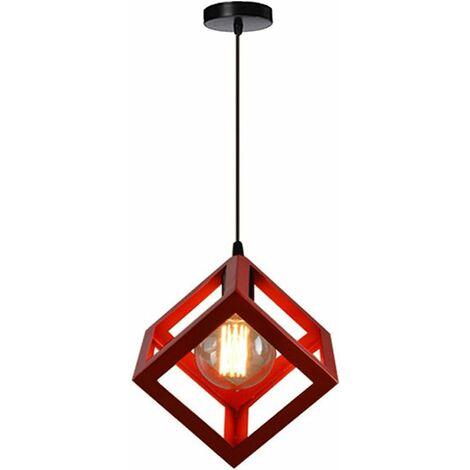 Suspension Design Cage Cube Luminaire Contemporain Lustre Abat Jour