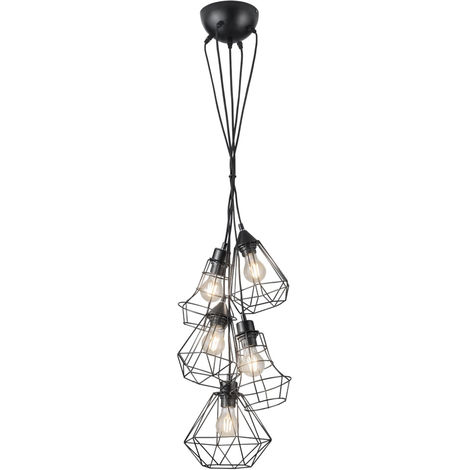 Suspension, design cage, noir, H 150 cm, MEIKE