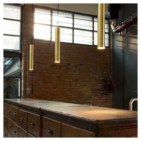 Suspension design LED Candle laiton tube - Cuivré