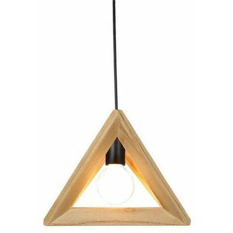 Suspension Design Triangle en Bois 32cm 110-220V Corde Ajustable-Luminaire  Suspension Salle à Manger