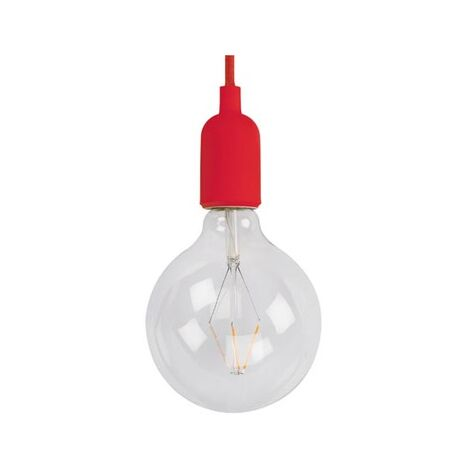 Suspension design Vellight rouge ampoule filaments led diam 12,5 extra bubble