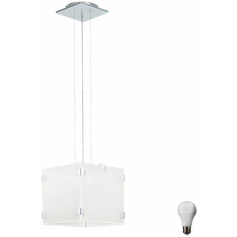 Suspension en verre Cuisine Salle à manger Lampe suspendue Chrome décoration blanche dans la série incl. Lampe LED