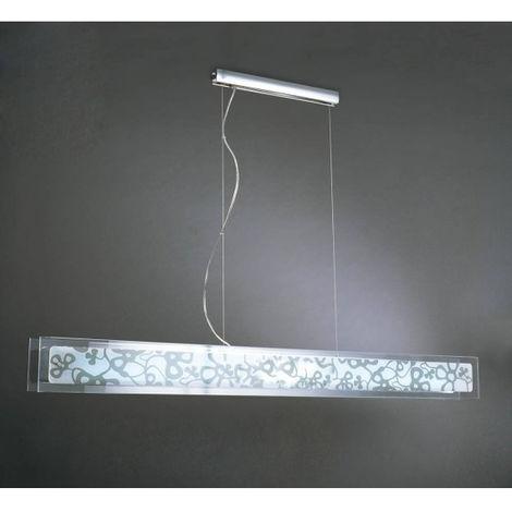 Suspension Euphoria 2 Ampoules T5 Wire, chrome poli/blanc verre opal