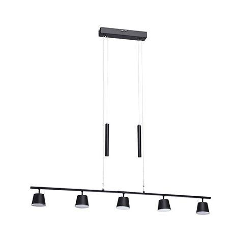 Suspension gamme Techno - Noir - 5x6,5W - 3000K - IP20 - Non Dimmable - Aluminium et Acrylique - Avec ampoules