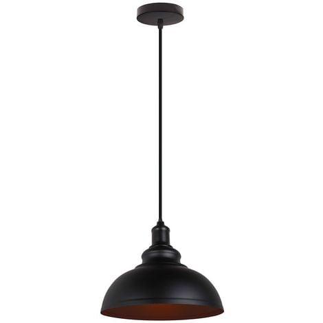 Suspension Industriel Vintages Ø29cm Noir, Lustre Abat-jour Luminaire Style Vintage Rétro Simple Métal Câble Réglable pour Salon Salle à Manger Restaurant Cuisine