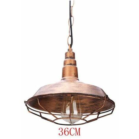 Suspension Industrielle Antique Style Luminaire Vintage Cuivre de Lampe de Culot Edison E27 en Métal 36cm pour Salon Cuisine