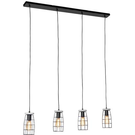 Suspension industrielle aspect béton et noir 4 lumières - Rohan Qazqa Industriel Luminaire interieur Rond
