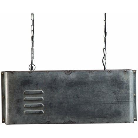 Suspension industrielle bloc rectangulaire gris - Métal grise