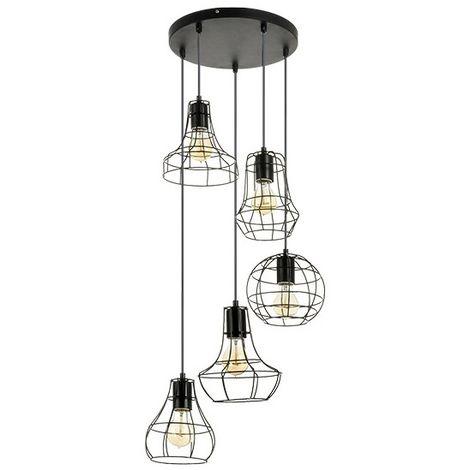 Suspension Industrielle Esprit Loft 5 Lampes