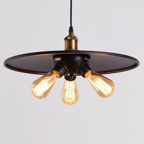 Suspension industrielle noire 3 ampoules - Hestia - Noir