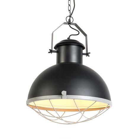 """main image of """"Suspension industrielle noire et grise - Moteur Qazqa Industriel Luminaire interieur Rond"""""""