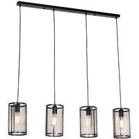 Cylindre Industriel Industrielle Rond Suspension Noire Gaze Qazqa Luminaire Interieur EDWH29I