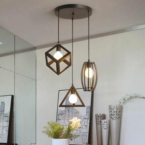 Suspension industrielle r tro cage en 3 forme diff rentes lustre abat jour vintage e27 - Lustre pour salon alger ...