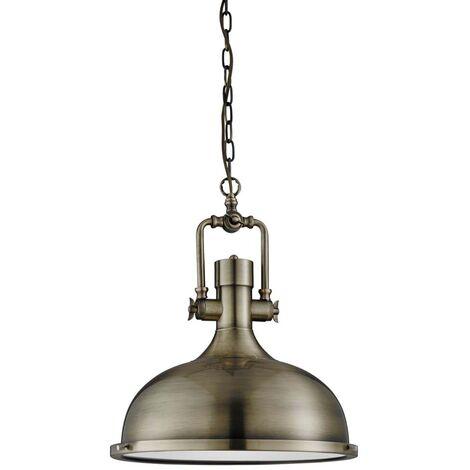 Suspension industrielle, suspension 1 flamme, laiton antique, verre dépoli