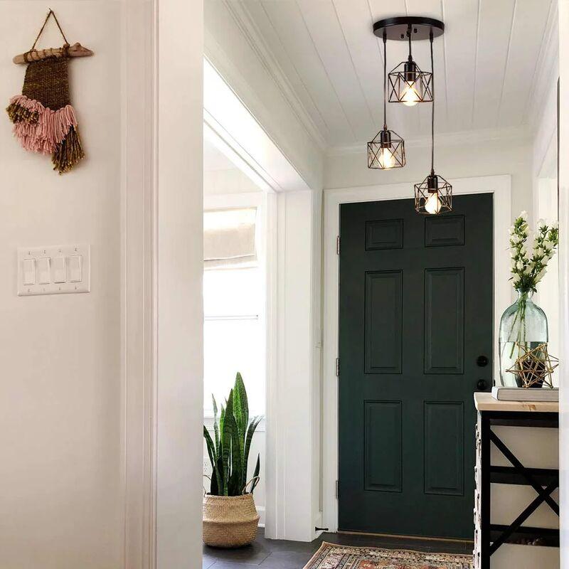 Suspension Industrielle Vintage Lampe Lustre Abat Jour Ajustable Diy Luminaire Salle A Manger Bar Noir