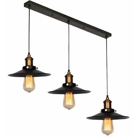 Suspension industrielle vintage luminaire abat-jour 22cm , rétro lustre en métal fer lampe plafonnier corde ajustable ,E27 Blanc