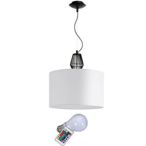 Suspension lampe cuisine salon plafond lampe textile noir acier dans l'ensemble, y compris LED RGB