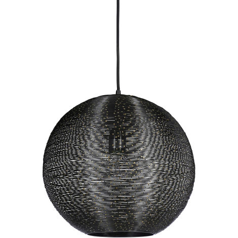 Suspension lampe de plafond luminaire abat-jour rond noir en fil fer ...